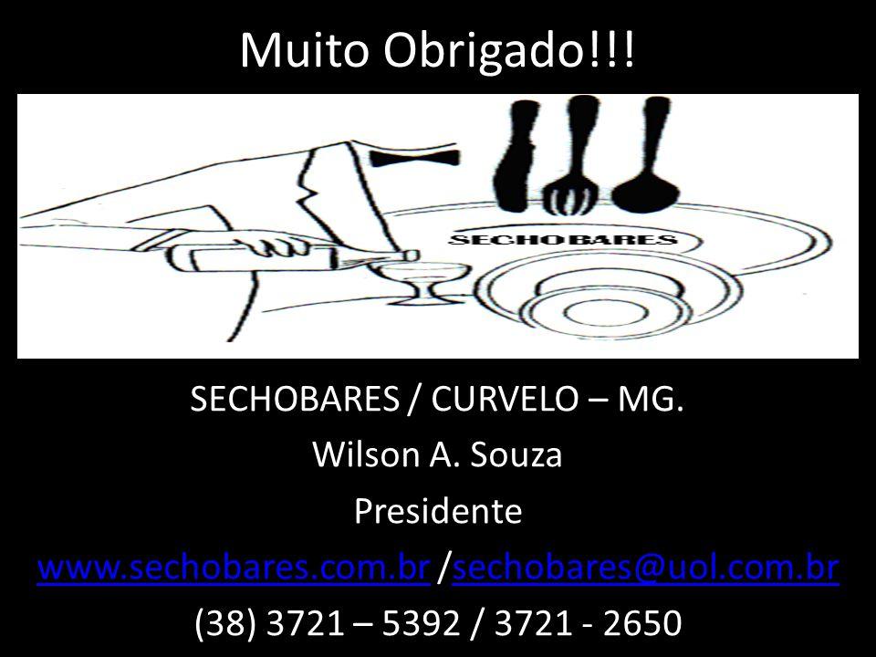 Muito Obrigado!!! SECHOBARES / CURVELO – MG. Wilson A. Souza Presidente www.sechobares.com.brwww.sechobares.com.br /sechobares@uol.com.brsechobares@uo