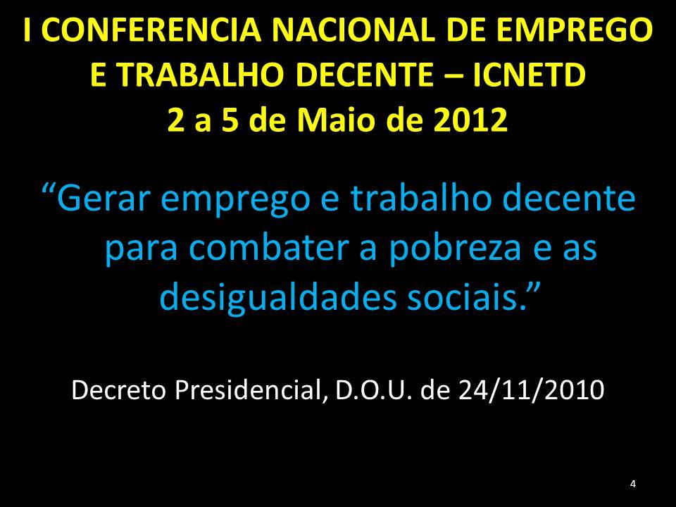 """I CONFERENCIA NACIONAL DE EMPREGO E TRABALHO DECENTE – ICNETD 2 a 5 de Maio de 2012 """"Gerar emprego e trabalho decente para combater a pobreza e as des"""