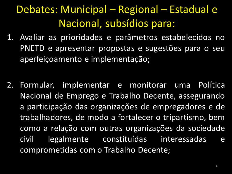 Debates: Municipal – Regional – Estadual e Nacional, subsídios para: 1.Avaliar as prioridades e parâmetros estabelecidos no PNETD e apresentar propost