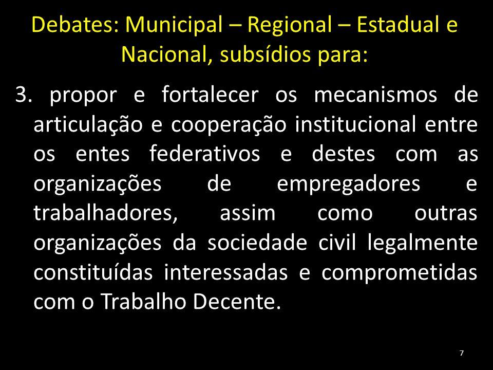 Debates: Municipal – Regional – Estadual e Nacional, subsídios para: 3. propor e fortalecer os mecanismos de articulação e cooperação institucional en