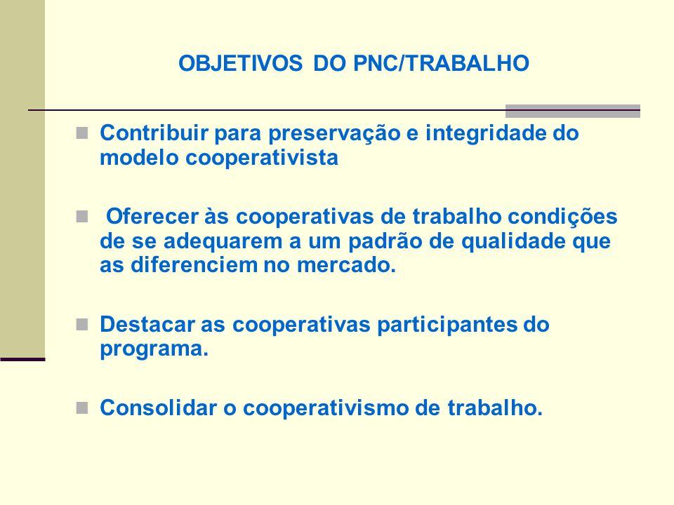 OBJETIVOS DO PNC/TRABALHO Contribuir para preservação e integridade do modelo cooperativista Oferecer às cooperativas de trabalho condições de se adequarem a um padrão de qualidade que as diferenciem no mercado.