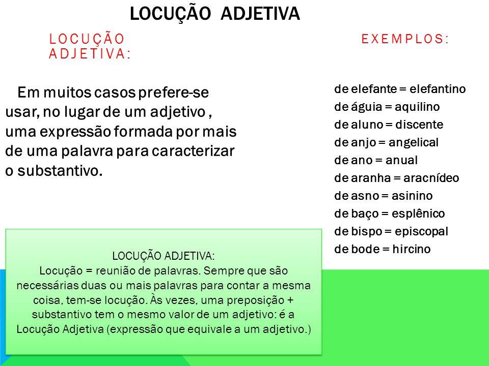 LOCUÇÃO ADJETIVA LOCUÇÃO ADJETIVA: Em muitos casos prefere-se usar, no lugar de um adjetivo, uma expressão formada por mais de uma palavra para caracterizar o substantivo.
