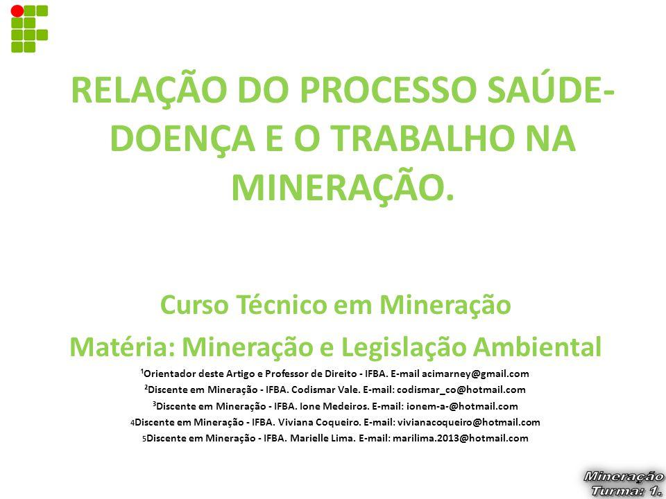 RELAÇÃO DO PROCESSO SAÚDE- DOENÇA E O TRABALHO NA MINERAÇÃO. Curso Técnico em Mineração Matéria: Mineração e Legislação Ambiental ¹Orientador deste Ar
