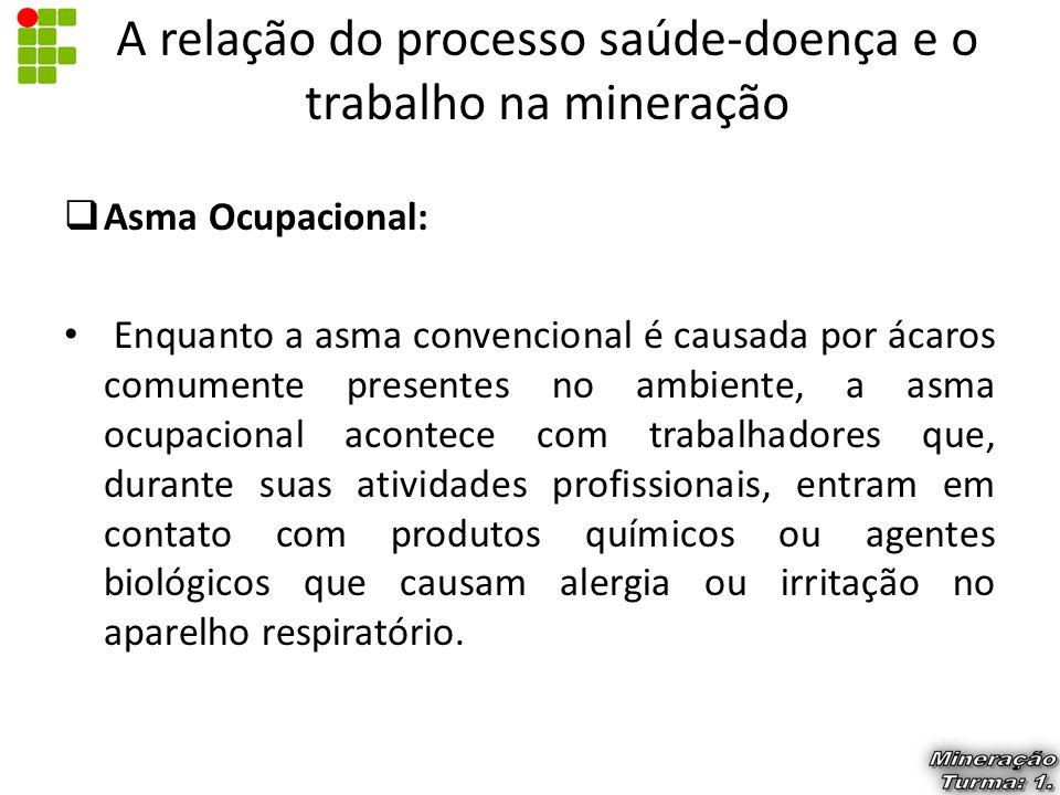  Asma Ocupacional: Enquanto a asma convencional é causada por ácaros comumente presentes no ambiente, a asma ocupacional acontece com trabalhadores q
