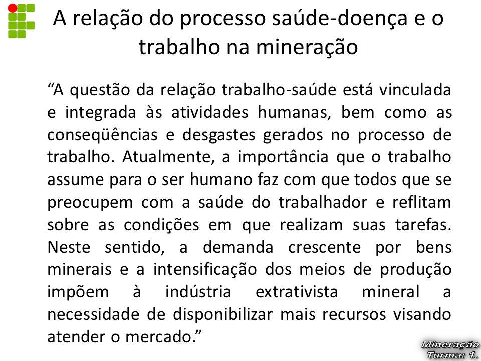 """A relação do processo saúde-doença e o trabalho na mineração """"A questão da relação trabalho-saúde está vinculada e integrada às atividades humanas, be"""