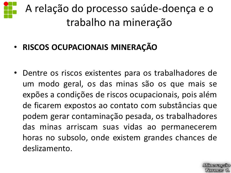 RISCOS OCUPACIONAIS MINERAÇÃO Dentre os riscos existentes para os trabalhadores de um modo geral, os das minas são os que mais se expões a condições d