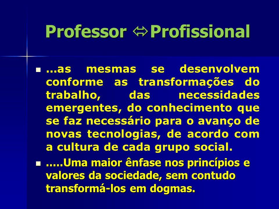 Professor  Profissional...as mesmas se desenvolvem conforme as transformações do trabalho, das necessidades emergentes, do conhecimento que se faz necessário para o avanço de novas tecnologias, de acordo com a cultura de cada grupo social......Uma maior ênfase nos princípios e valores da sociedade, sem contudo transformá-los em dogmas......Uma maior ênfase nos princípios e valores da sociedade, sem contudo transformá-los em dogmas.