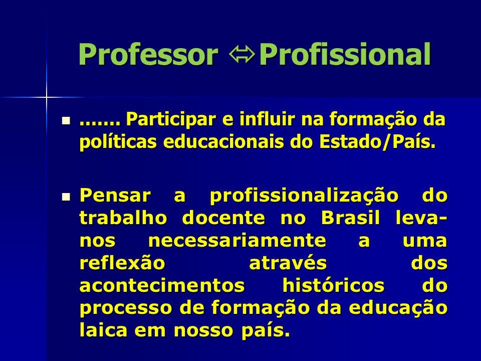 Professor  Profissional....... Participar e influir na formação da políticas educacionais do Estado/País........ Participar e influir na formação da
