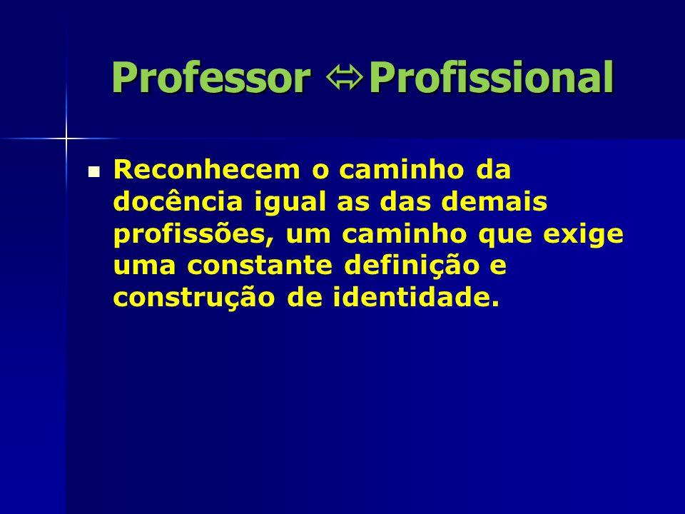 Professor  Profissional Reconhecem o caminho da docência igual as das demais profissões, um caminho que exige uma constante definição e construção de