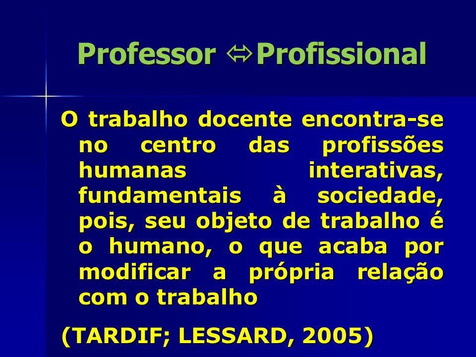 Professor  Profissional O trabalho docente encontra-se no centro das profissões humanas interativas, fundamentais à sociedade, pois, seu objeto de tr
