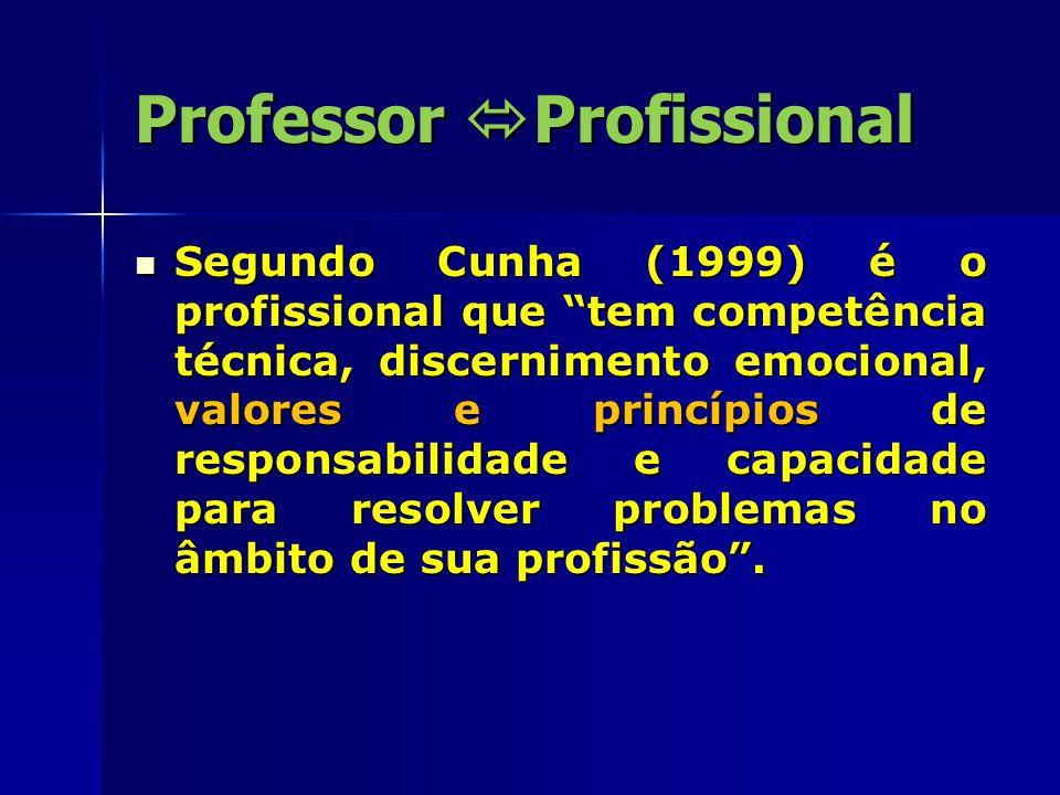 """Professor  Profissional Segundo Cunha (1999) é o profissional que """"tem competência técnica, discernimento emocional, valores e princípios de responsa"""