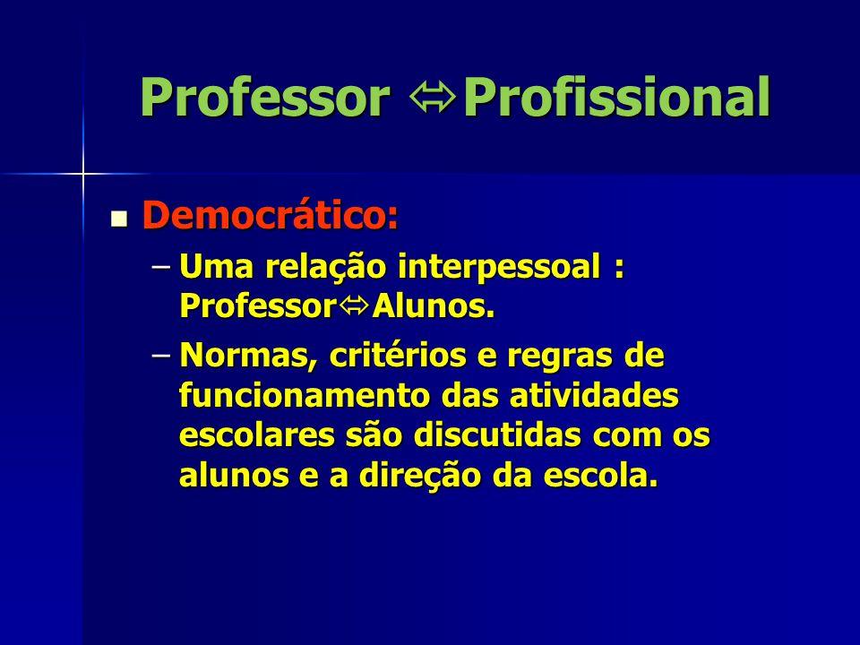 Professor  Profissional Democrático: Democrático: –Uma relação interpessoal : Professor  Alunos.