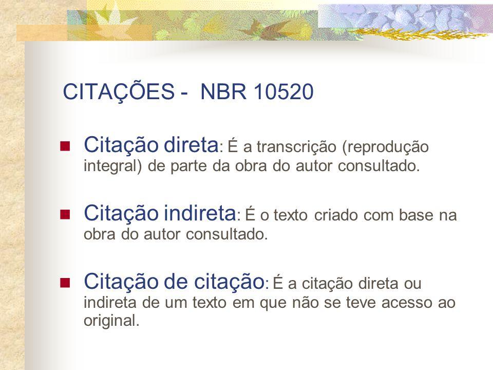 CITAÇÕES - NBR 10520 Citação direta : É a transcrição (reprodução integral) de parte da obra do autor consultado. Citação indireta : É o texto criado