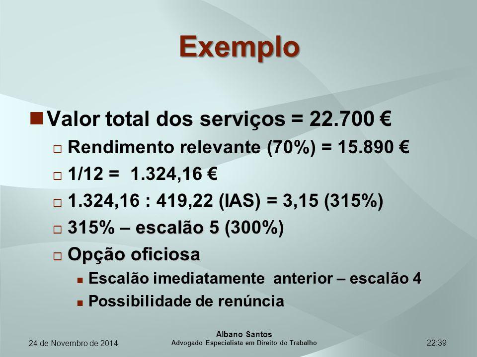 22:39 Exemplo Valor total dos serviços = 22.700 €  Rendimento relevante (70%) = 15.890 €  1/12 = 1.324,16 €  1.324,16 : 419,22 (IAS) = 3,15 (315%)