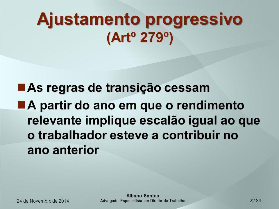 22:39 Ajustamento progressivo (Artº 279º) regras de transição cessam As regras de transição cessam A partir do ano em que o rendimento relevante impli
