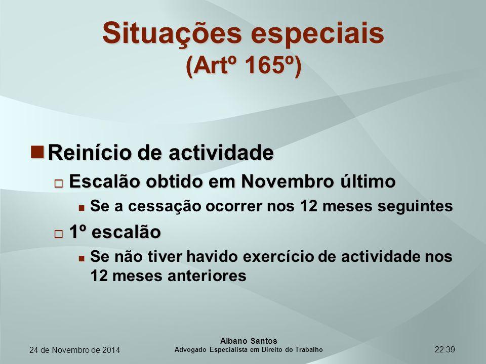 22:39 Situações especiais (Artº 165º) Reinício de actividade Reinício de actividade  Escalão obtido em Novembro último Se a cessação ocorrer nos 12 m