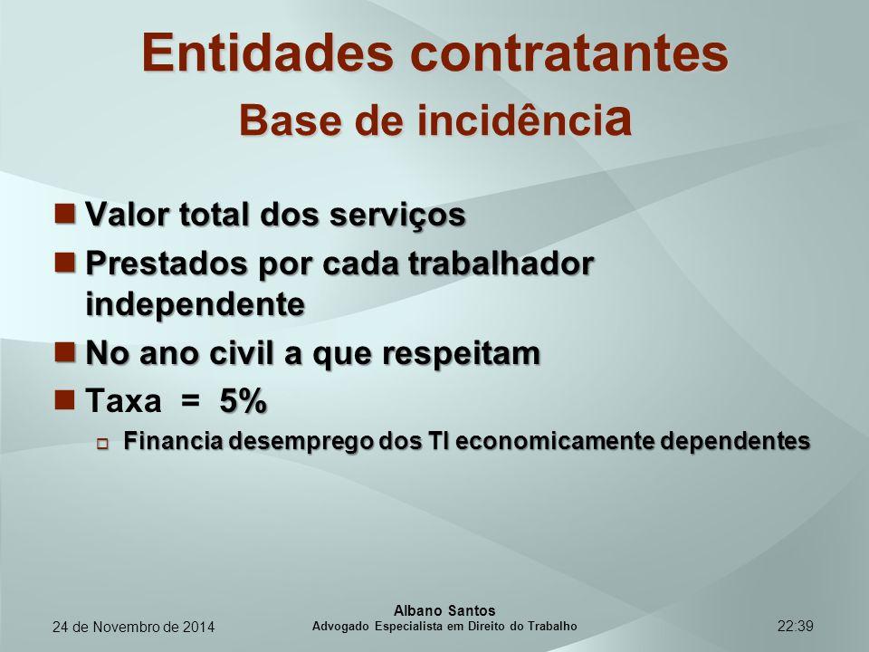 22:39 Entidades contratantes Base de incidênci a Valor total dos serviços Valor total dos serviços Prestados por cada trabalhador independente Prestad