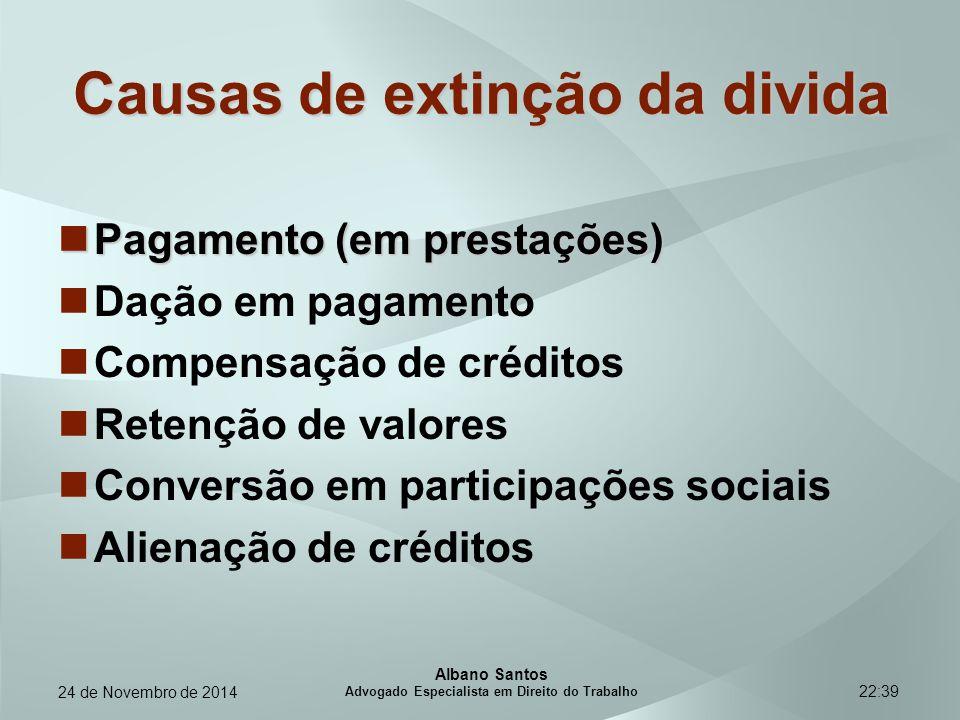 22:39 Causas de extinção da divida Pagamento (em prestações) Pagamento (em prestações) Dação em pagamento Compensação de créditos Retenção de valores