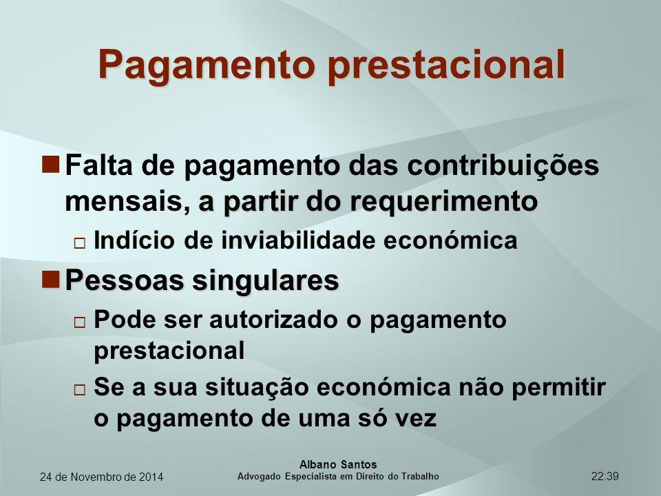 22:39 Pagamento prestacional a partir do requerimento Falta de pagamento das contribuições mensais, a partir do requerimento  Indício de inviabilidad