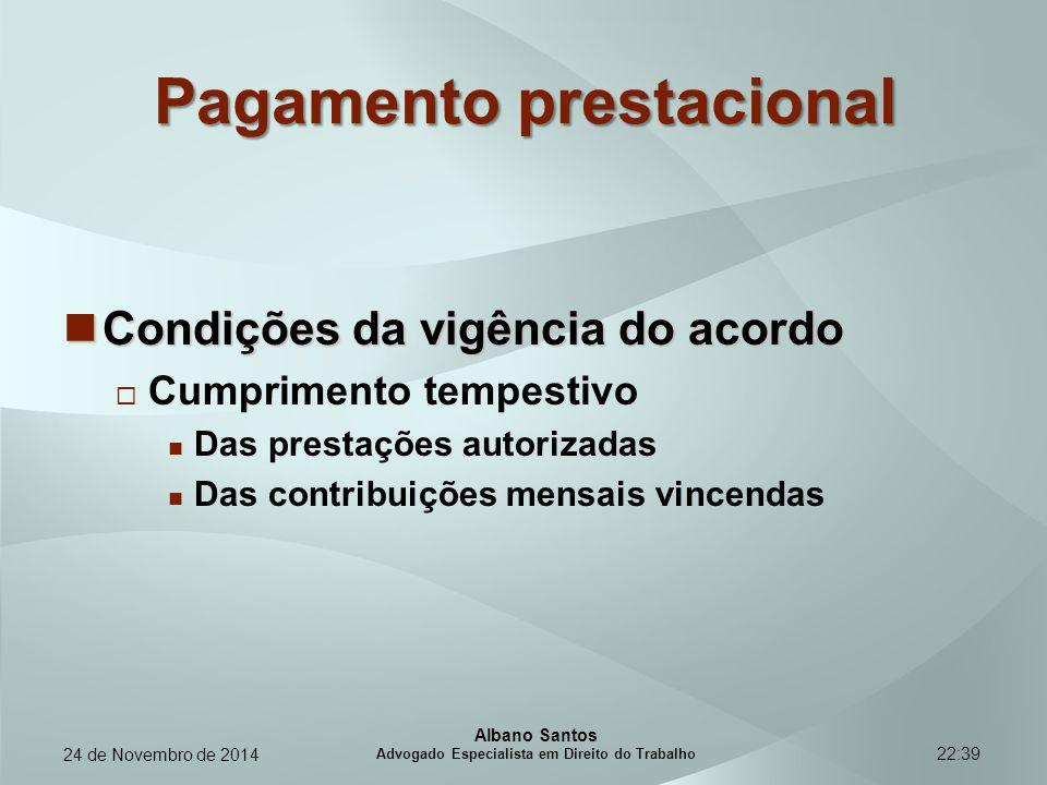 22:39 Pagamento prestacional Condições da vigência do acordo Condições da vigência do acordo  Cumprimento tempestivo Das prestações autorizadas Das c