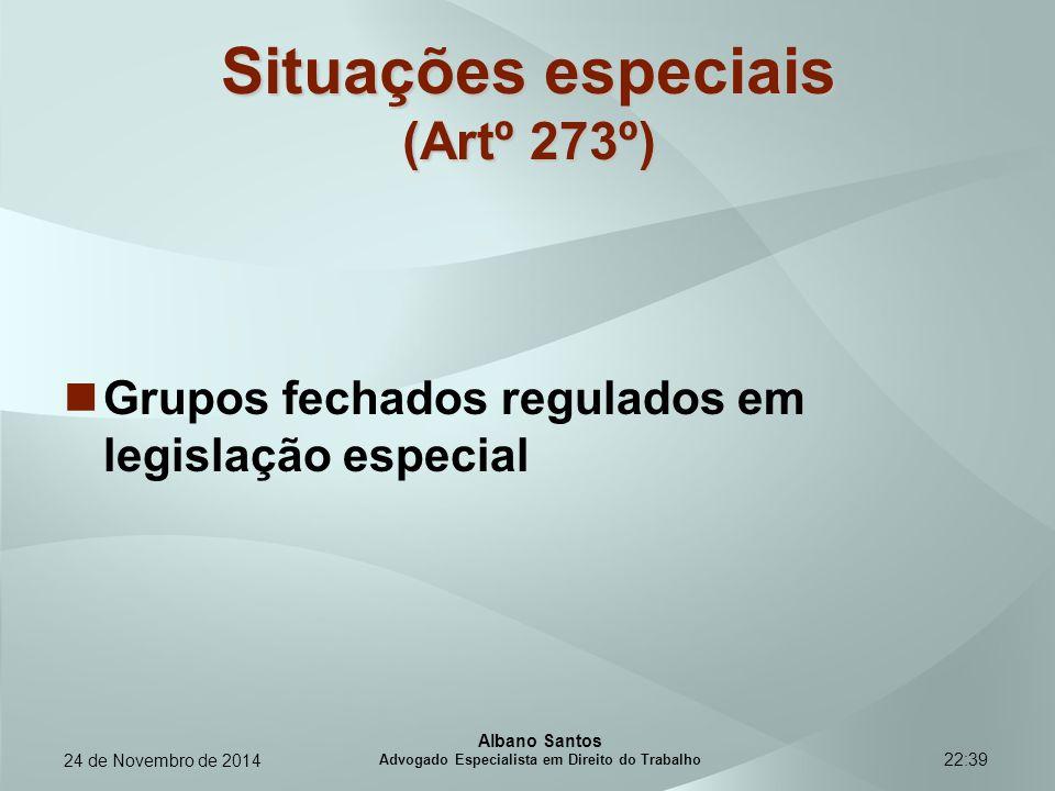 22:39 Situações especiais (Artº 273º) Grupos fechados regulados em legislação especial Albano Santos Advogado Especialista em Direito do Trabalho 24 d