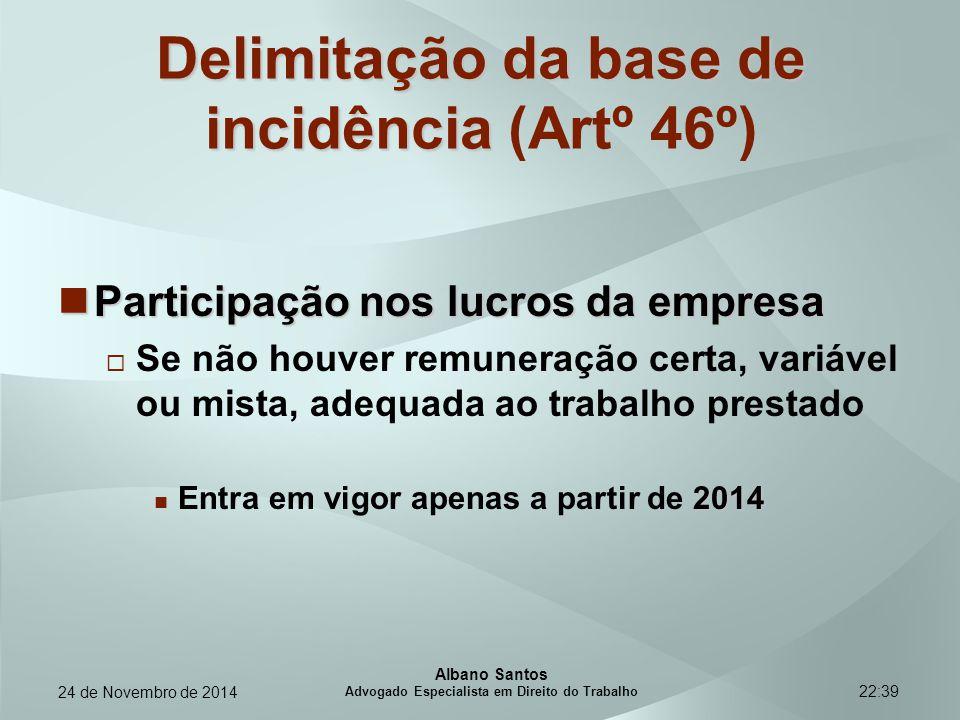 22:39 Delimitação da base de incidência Delimitação da base de incidência (Artº 46º) Participação nos lucros da empresa Participação nos lucros da emp