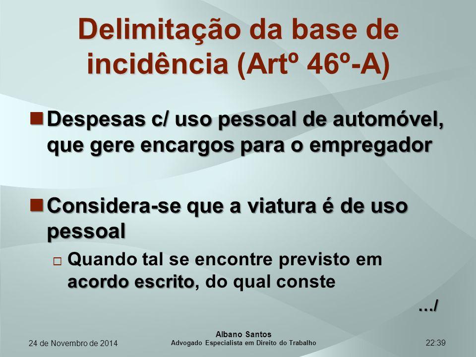 22:39 Delimitação da base de incidência Delimitação da base de incidência (Artº 46º-A) Despesas c/ uso pessoal de automóvel, que gere encargos para o