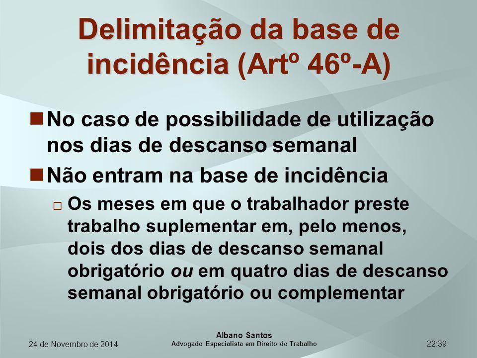 22:39 Delimitação da base de incidência Delimitação da base de incidência (Artº 46º-A) No caso de possibilidade de utilização nos dias de descanso sem