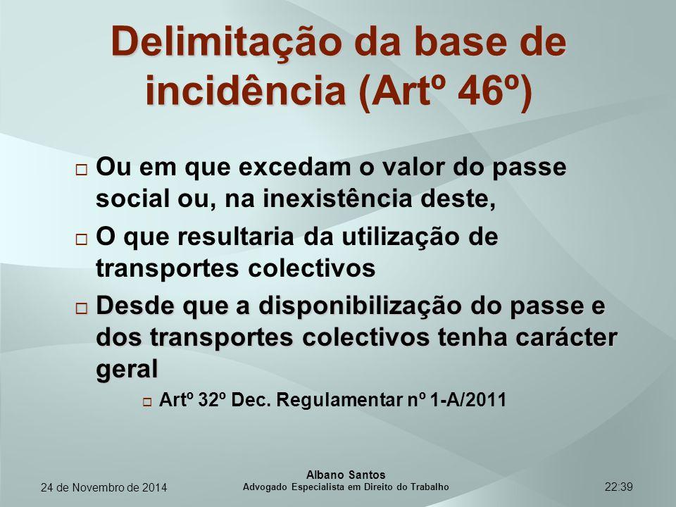 22:39 Delimitação da base de incidência Delimitação da base de incidência (Artº 46º)  Ou em que excedam o valor do passe social ou, na inexistência d