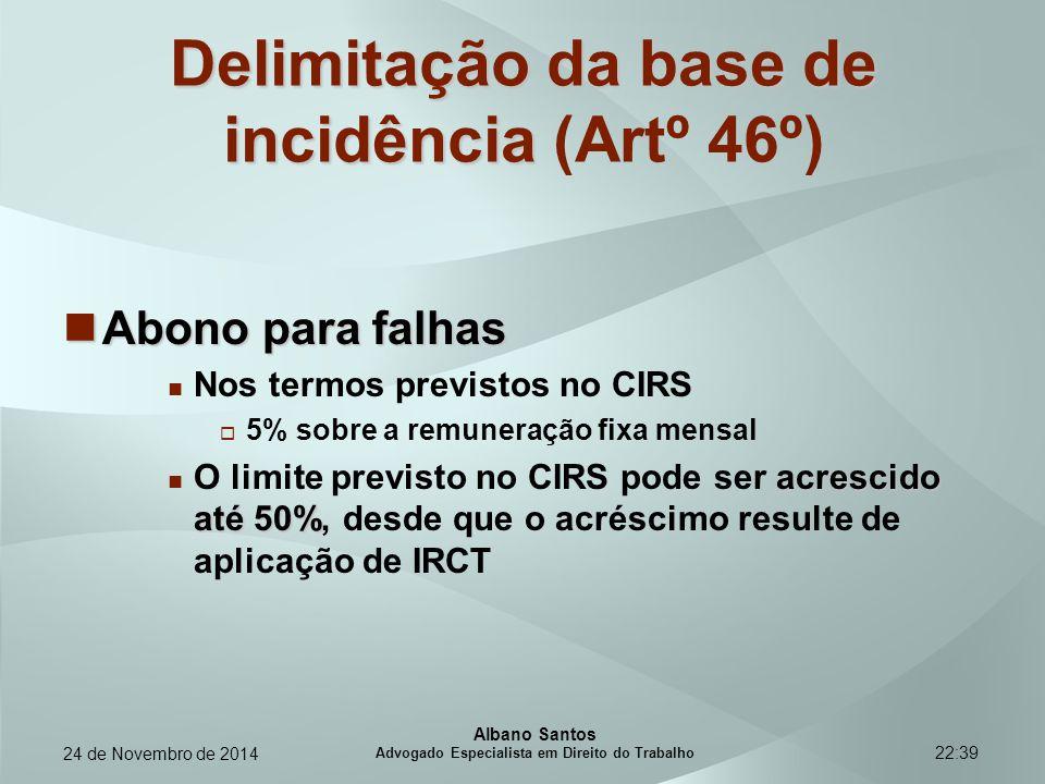 22:39 Delimitação da base de incidência Delimitação da base de incidência (Artº 46º) Abono para falhas Abono para falhas Nos termos previstos no CIRS