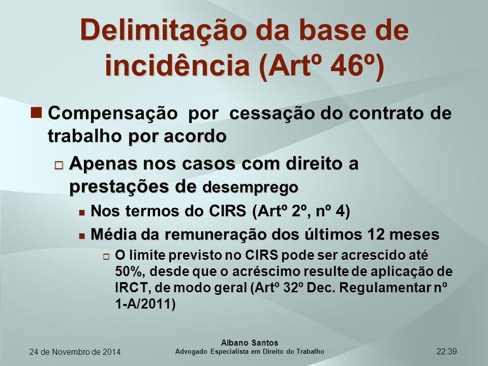 22:39 Delimitação da base de incidência Delimitação da base de incidência (Artº 46º) por acordo Compensação por cessação do contrato de trabalho por a