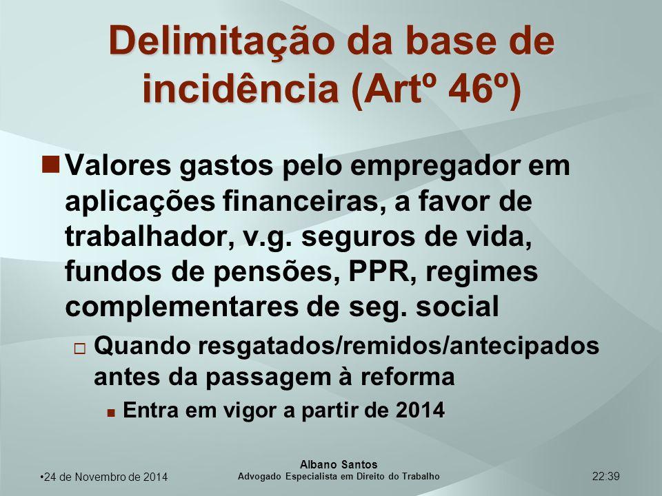 22:39 Delimitação da base de incidência Delimitação da base de incidência (Artº 46º) Valores gastos pelo empregador em aplicações financeiras, a favor