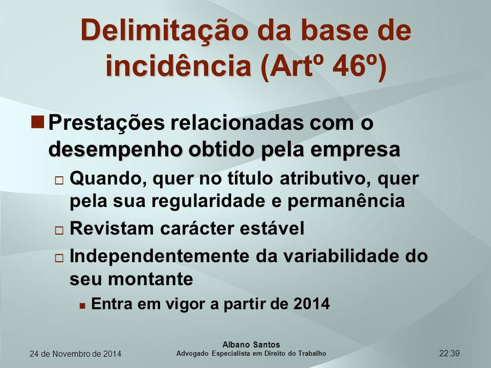 22:39 Delimitação da base de incidência Delimitação da base de incidência (Artº 46º) desempenho obtido pela empresa Prestações relacionadas com o dese