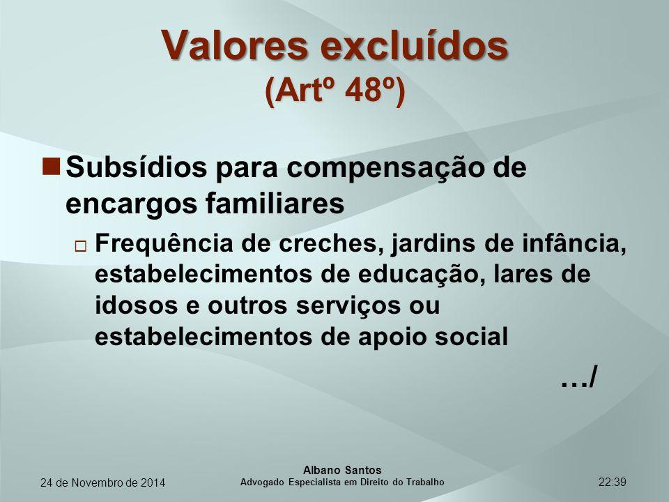 22:39 Valores excluídos (Artº 48º) Subsídios para compensação de encargos familiares  Frequência de creches, jardins de infância, estabelecimentos de