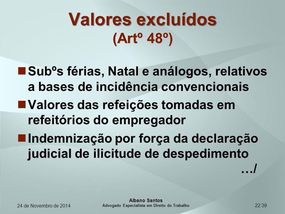 22:39 Valores excluídos (Artº 48º) Subºs férias, Natal e análogos, relativos a bases de incidência convencionais Valores das refeições tomadas em refe