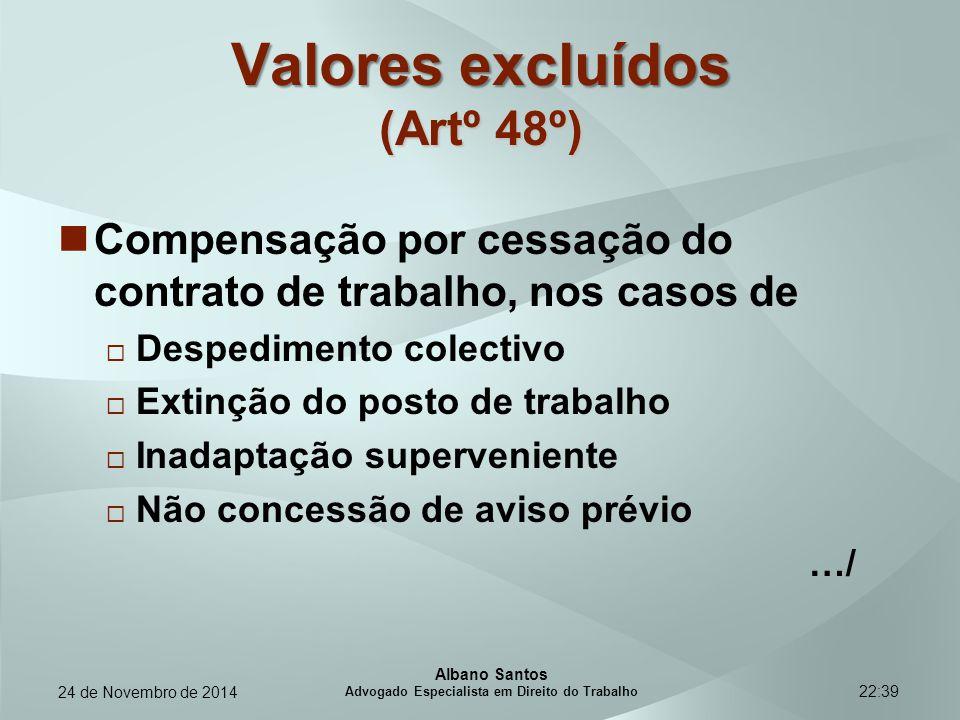22:39 Valores excluídos (Artº 48º) Compensação por cessação do contrato de trabalho, nos casos de  Despedimento colectivo  Extinção do posto de trab
