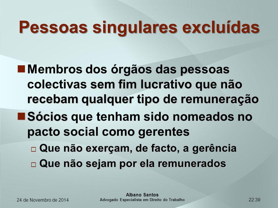 22:39 Pessoas singulares excluídas sem fim lucrativonão recebam qualquer tipo de remuneração Membros dos órgãos das pessoas colectivas sem fim lucrati