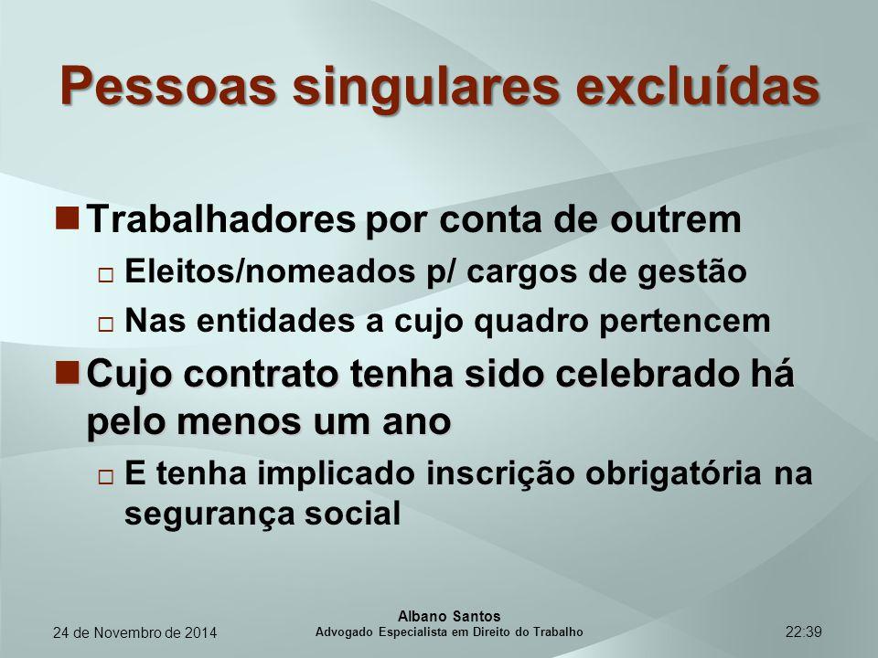 22:39 Pessoas singulares excluídas Trabalhadores por conta de outrem  Eleitos/nomeados p/ cargos de gestão  Nas entidades a cujo quadro pertencem Cu