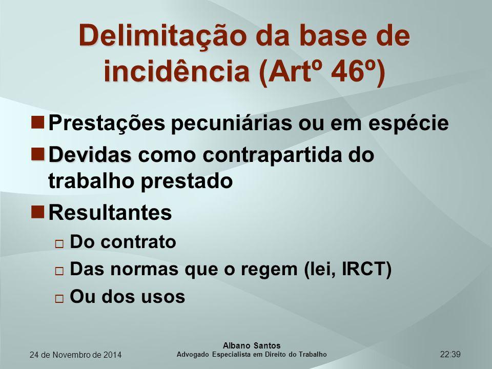 22:39 Delimitação da base de incidência Delimitação da base de incidência (Artº 46º) Prestações pecuniárias ou em espécie Devidas Devidas como contrap