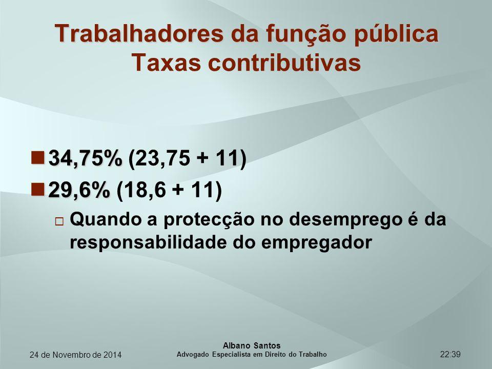 22:39 Trabalhadores da função pública Trabalhadores da função pública Taxas contributivas 34,75% 34,75% (23,75 + 11) 29,6% 29,6% (18,6 + 11)  Quando