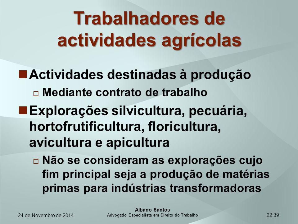 22:39 Trabalhadores de actividades agrícolas Actividades destinadas à produção  Mediante contrato de trabalho Explorações silvicultura, pecuária, hor
