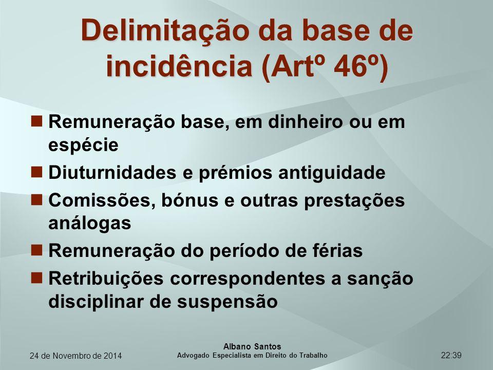 22:39 Delimitação da base de incidência Delimitação da base de incidência (Artº 46º) Remuneração base, em dinheiro ou em espécie Diuturnidades e prémi