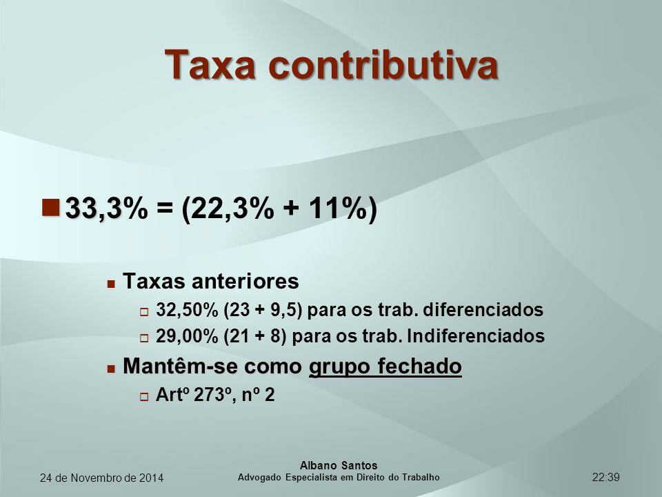 22:39 Taxa contributiva 33,3 33,3% = (22,3% + 11%) Taxas anteriores  32,50% (23 + 9,5) para os trab. diferenciados  29,00% (21 + 8) para os trab. In