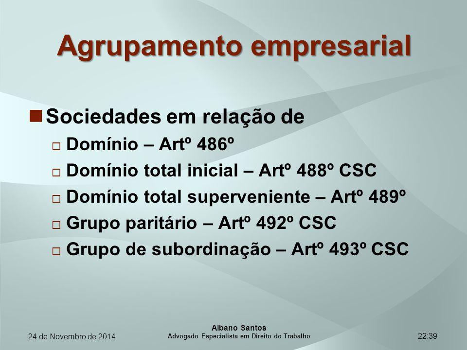 22:39 Agrupamento empresarial Sociedades em relação de  Domínio – Artº 486º  Domínio total inicial – Artº 488º CSC  Domínio total superveniente – A