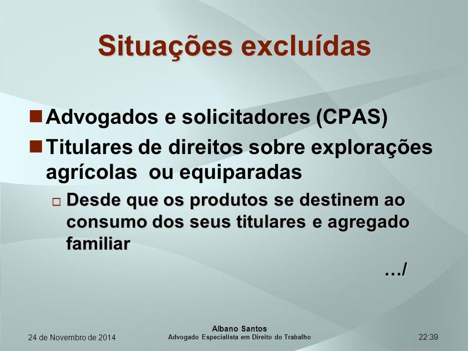 22:39 Situações excluídas Advogados e solicitadores (CPAS) Titulares de direitos sobre explorações agrícolas ou equiparadas  Desde que os produtos se