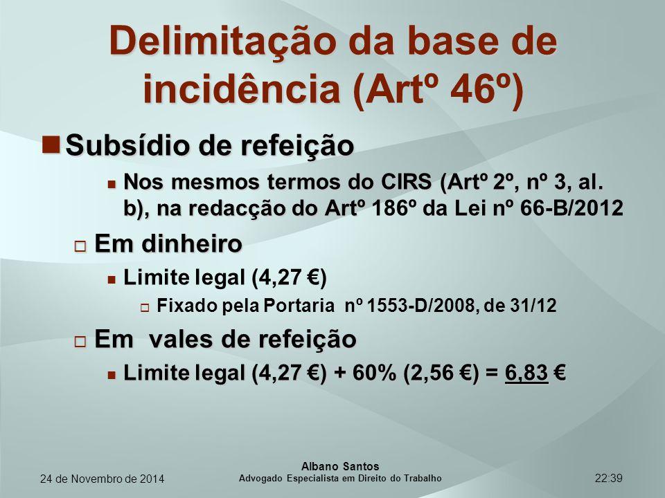 22:39 Delimitação da base de incidência Delimitação da base de incidência (Artº 46º) Subsídio de refeição Subsídio de refeição Nos mesmos termos do CI