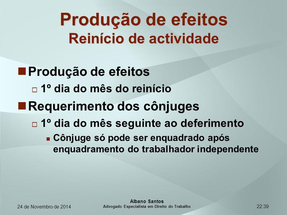 22:39 Produção de efeitos Reinício de actividade Produção de efeitos  1º dia do mês do reinício Requerimento dos cônjuges deferimento  1º dia do mês