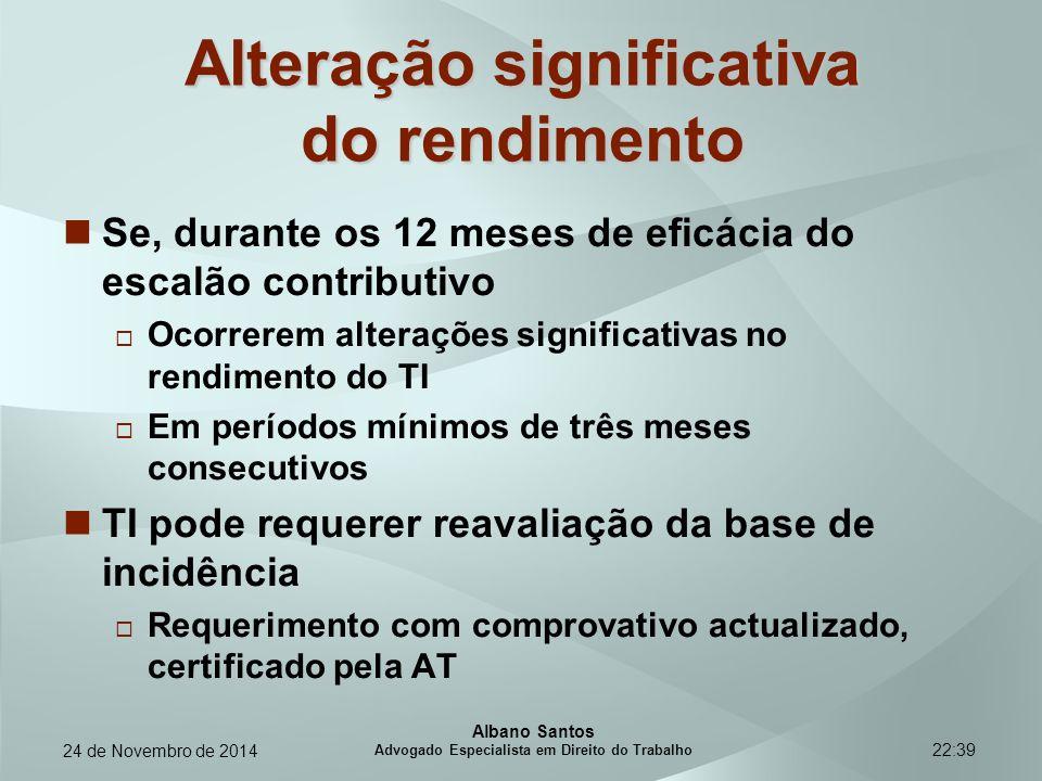 22:39 Alteração significativa do rendimento Se, durante os 12 meses de eficácia do escalão contributivo  Ocorrerem alterações significativas no rendi