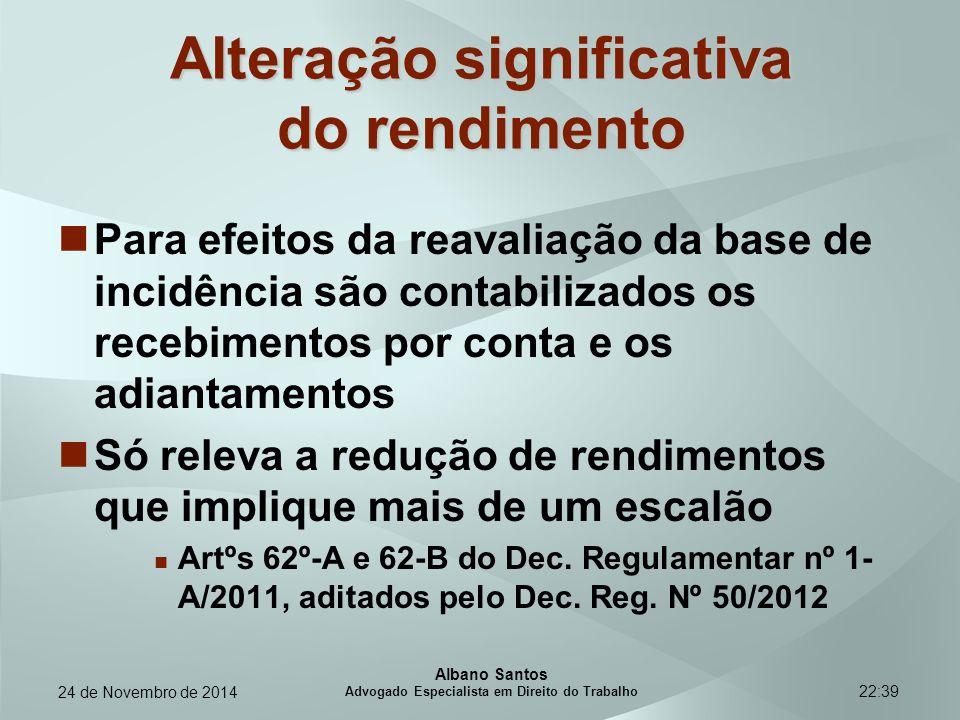 22:39 Alteração significativa do rendimento Para efeitos da reavaliação da base de incidência são contabilizados os recebimentos por conta e os adiant