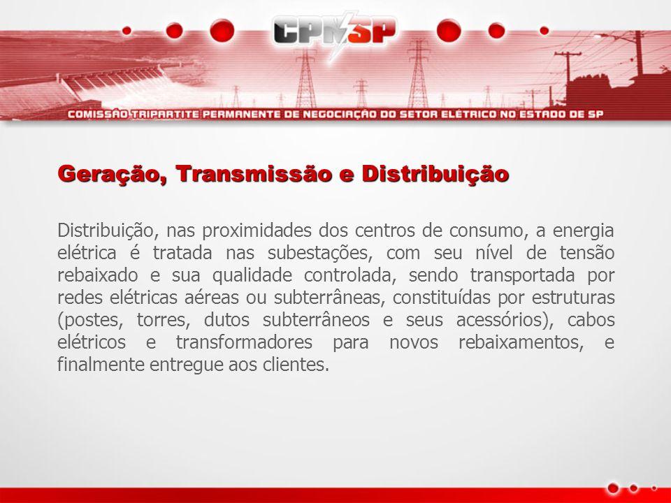 Geração, Transmissão e Distribuição Distribuição, nas proximidades dos centros de consumo, a energia elétrica é tratada nas subestações, com seu nível